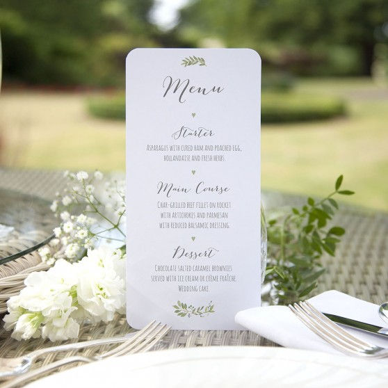 'Green Floral Watercolour' Slim Menu