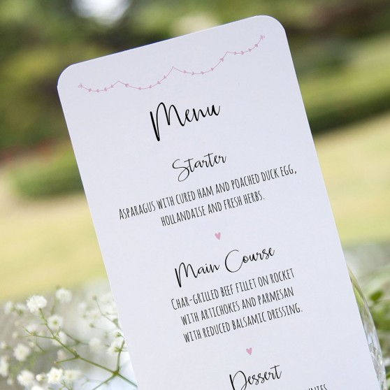 'Pink Heart Bunting' Slim Menu