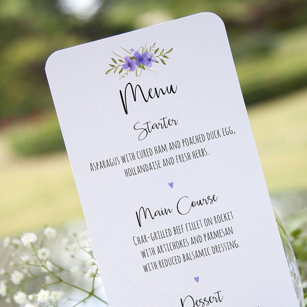 'Purple Multi Floral Watercolour' Slim Menu