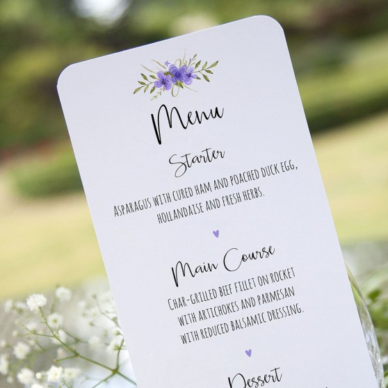 'Purple Multi Floral Watercolour' Slim Menu