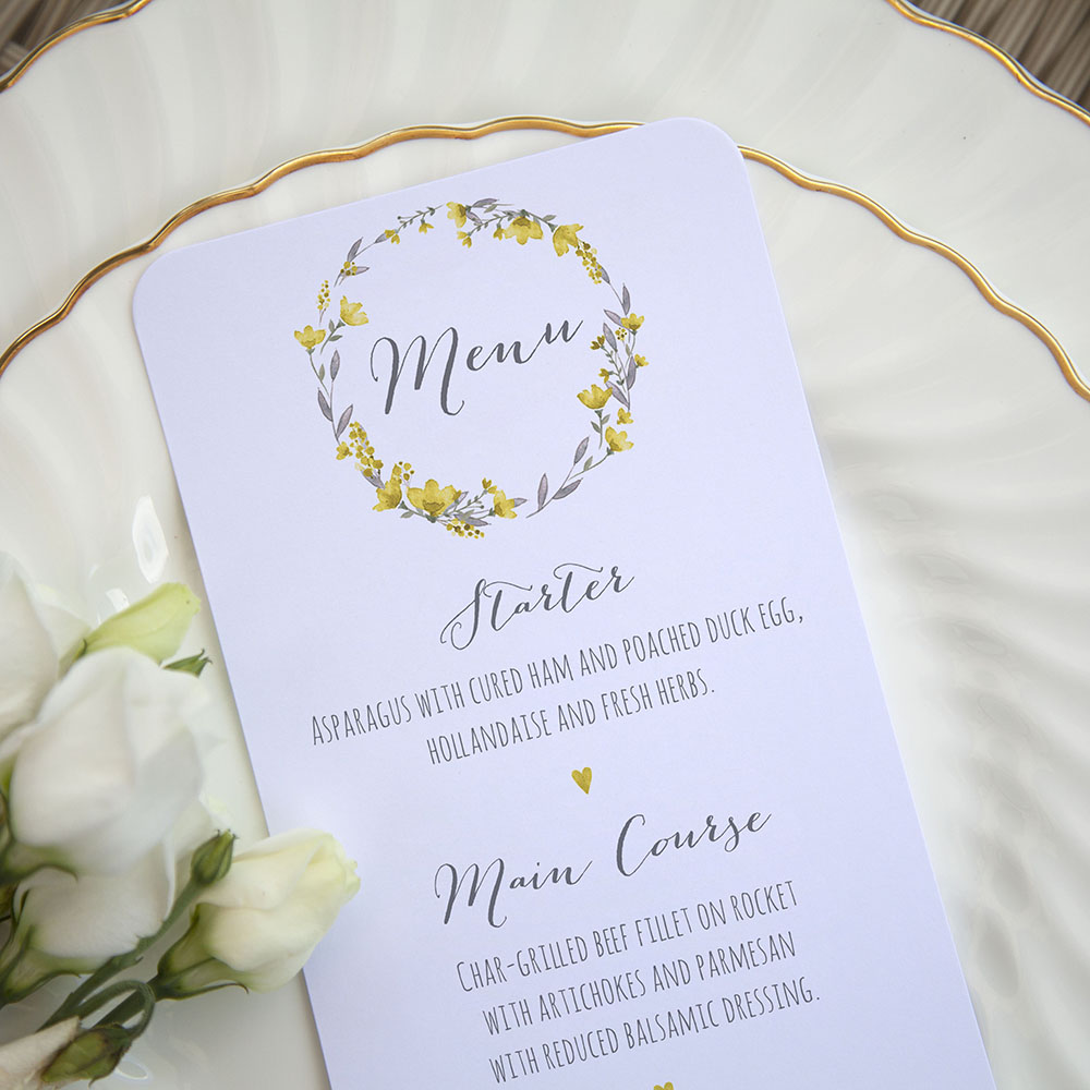 'Yellow Floral Watercolour' Slim Menu