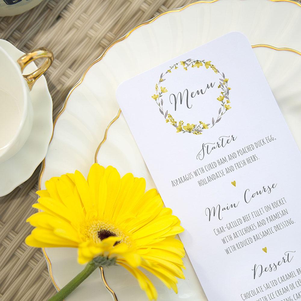 'Yellow Floral Watercolour' Slim Menu
