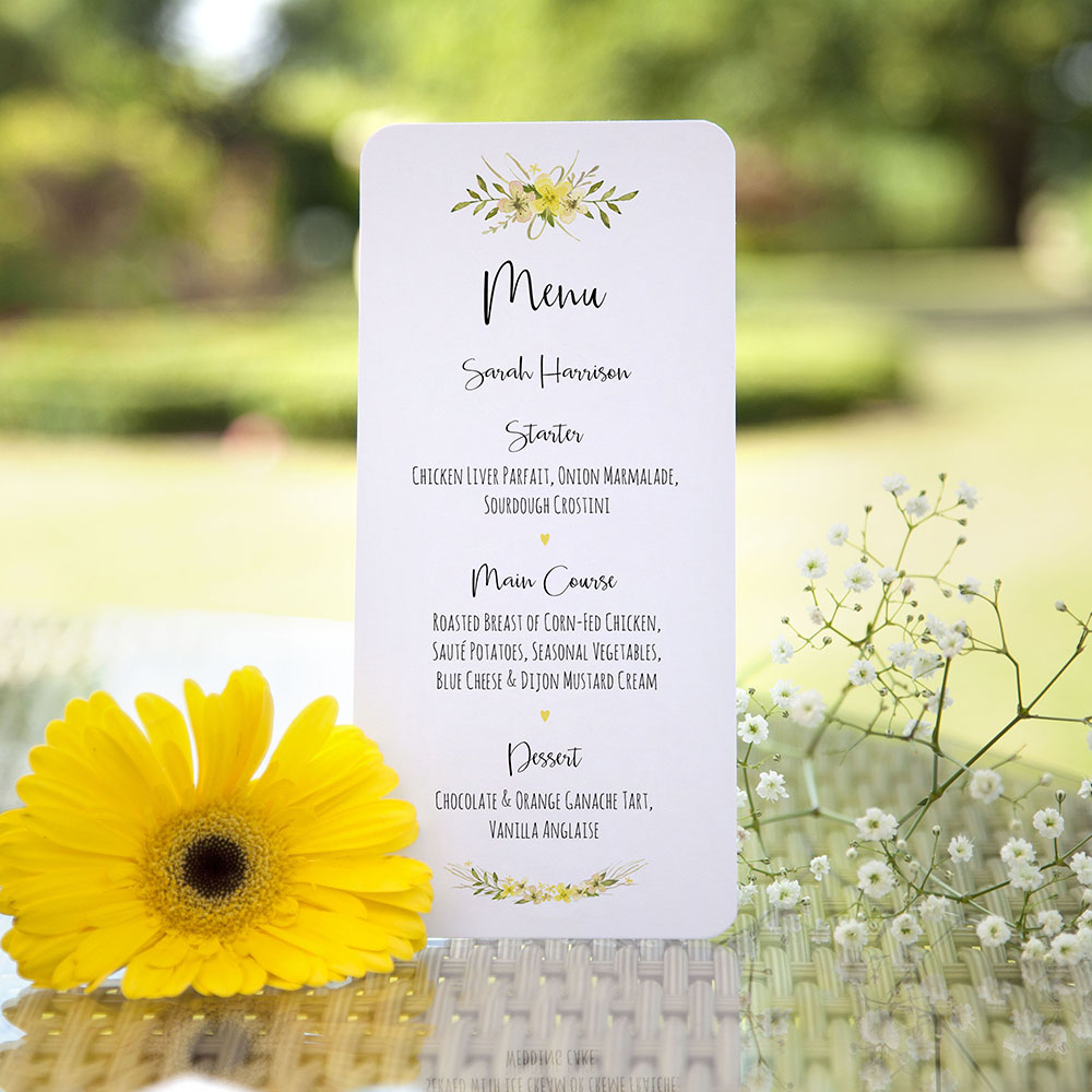 'Yellow Multi Floral Watercolour' Slim Menu