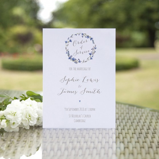'Blue Floral Watercolour' Folded Order of Service