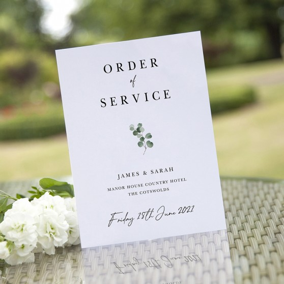 'Classic Eucalyptus CE20' Folded Order of Service