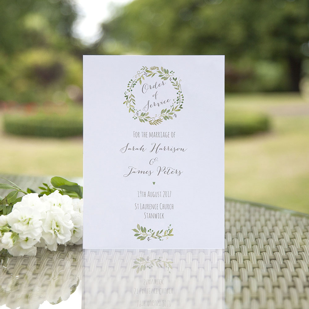 'Green Floral Watercolour' Folded Order of Service