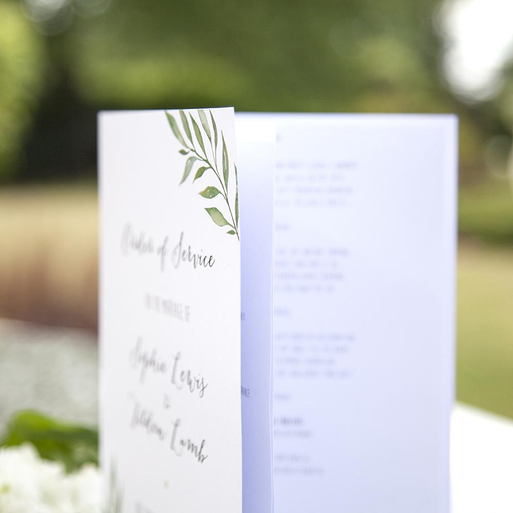 'Green Leaf' Folded Order of Service