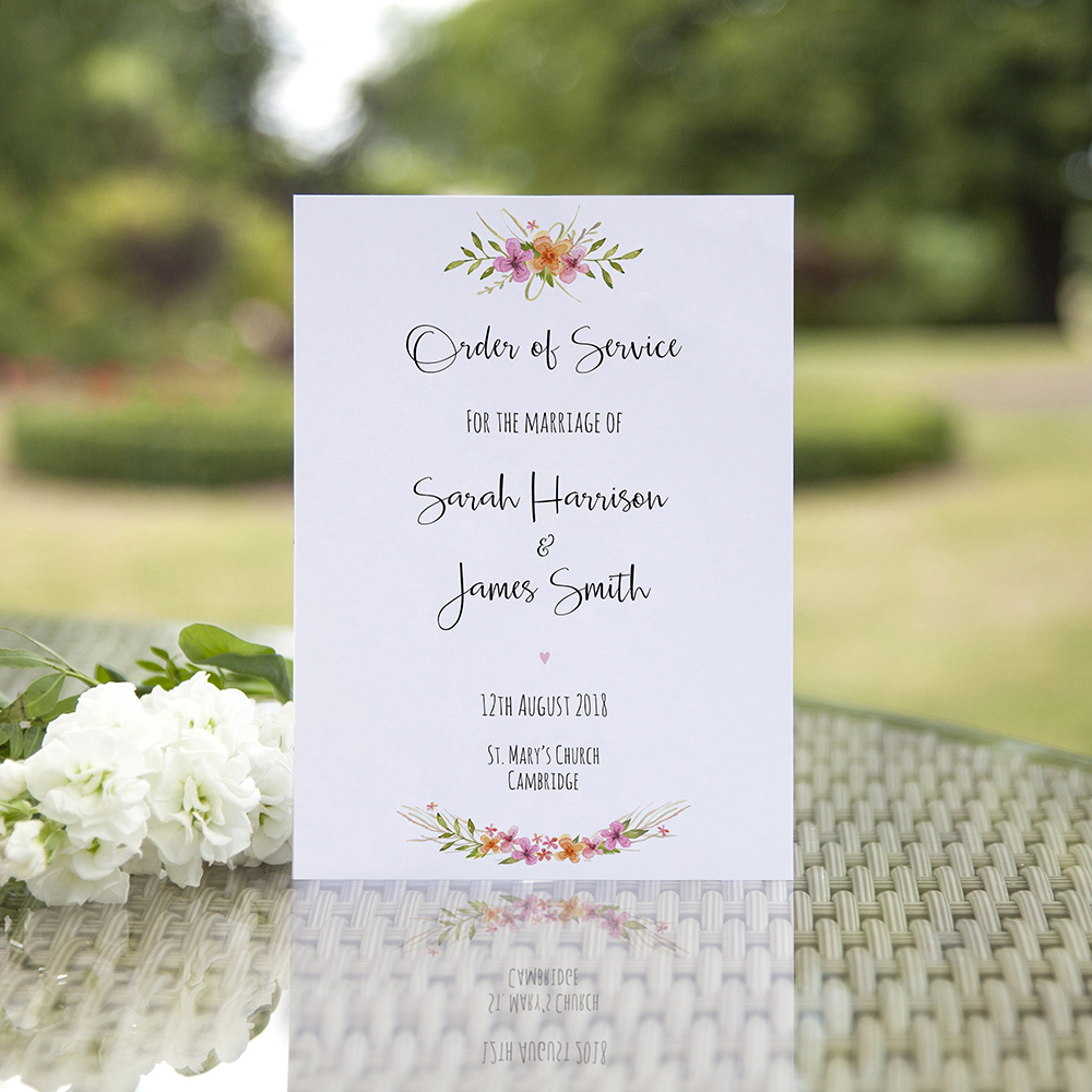 'Multi Floral Watercolour' Folded Order of Service