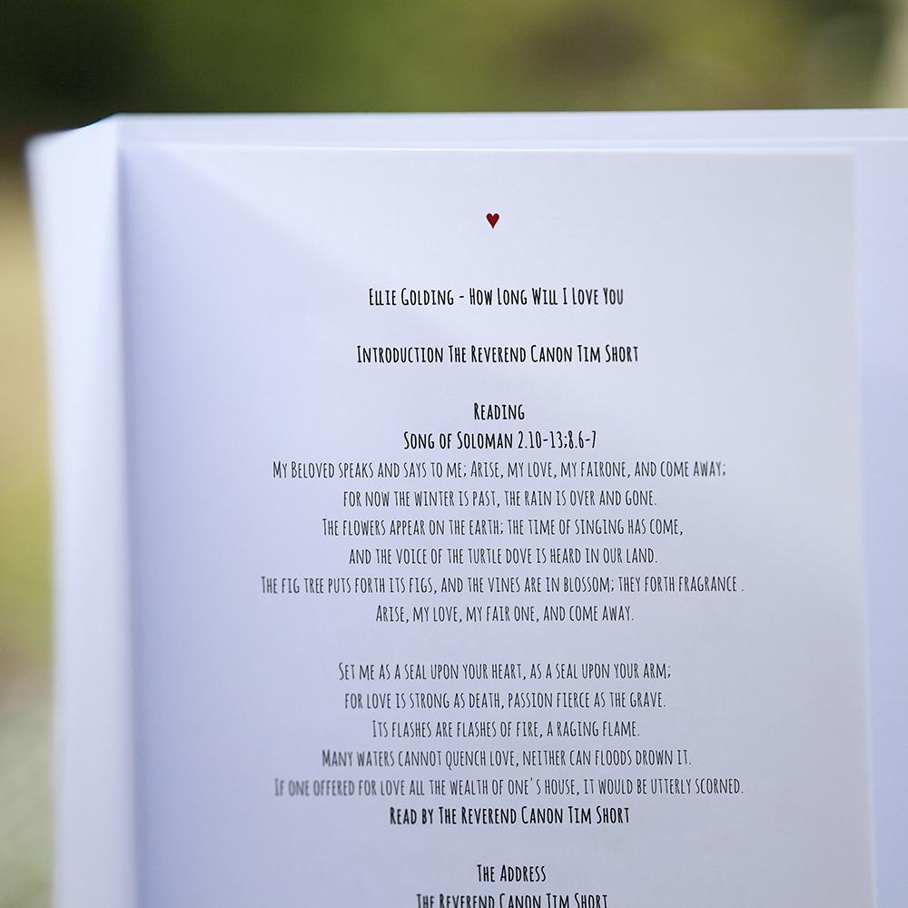 'Red Ivy Design' Folded Order of Service