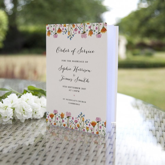 'Wild Floral' Folded Order of Service