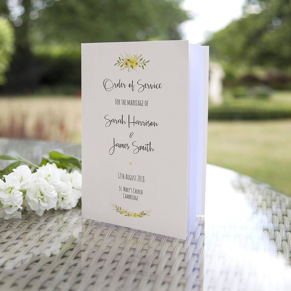 'Yellow Multi Floral Watercolour' Folded Order of Service