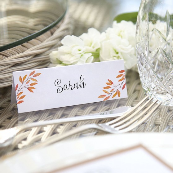 'Autumn Orange' Place Card Sample