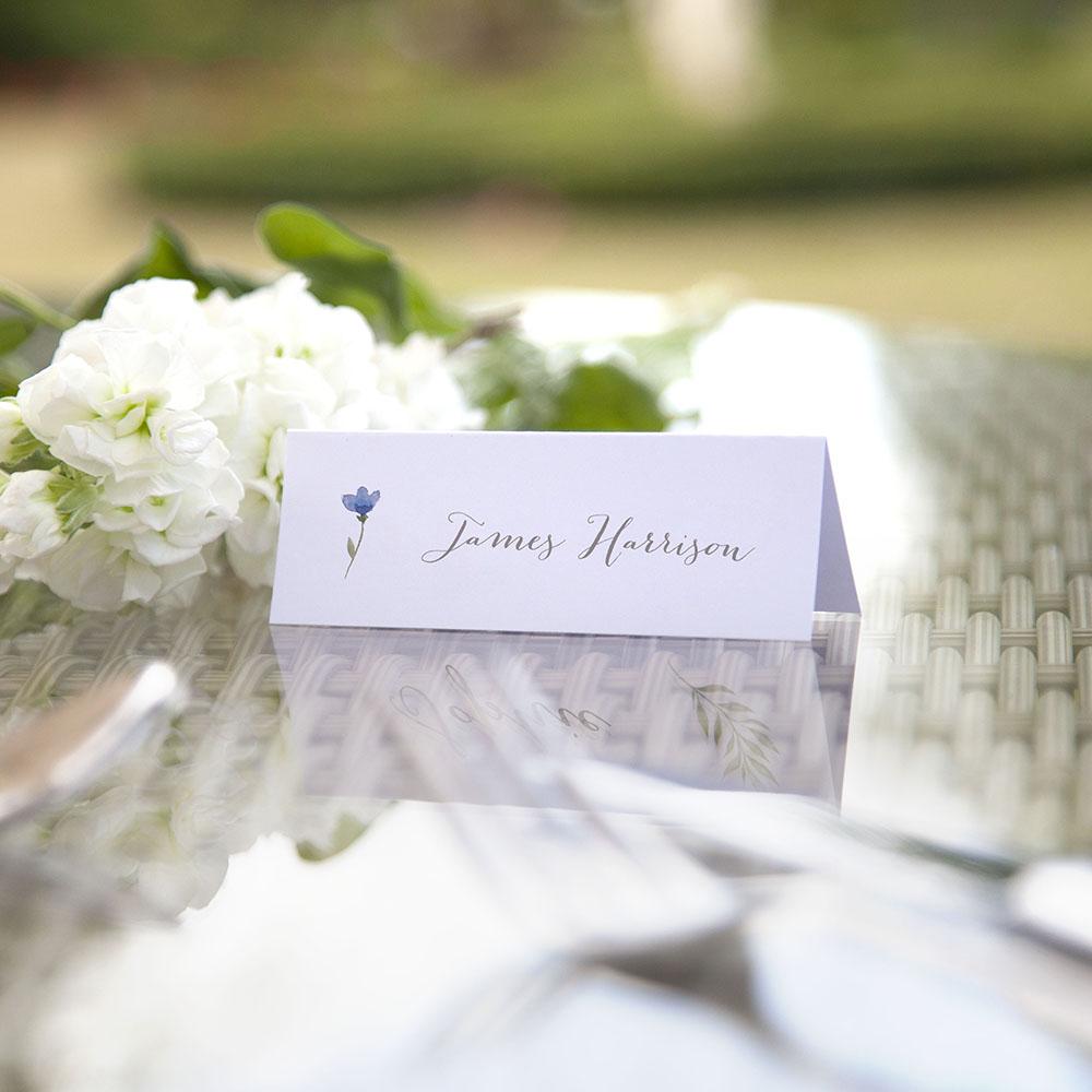 'Blue Floral Watercolour' Place Cards