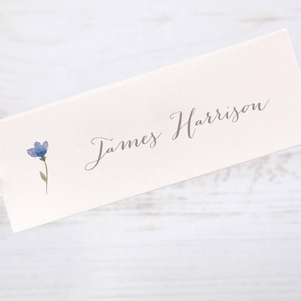 'Blue Floral Watercolour' Place Card Sample