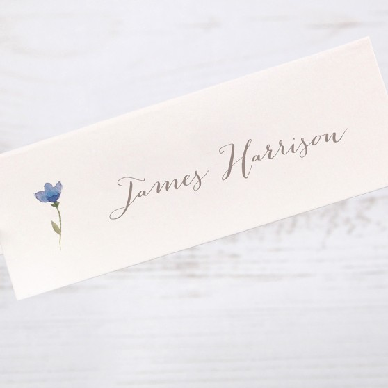 'Blue Floral Watercolour' Place Card Sample