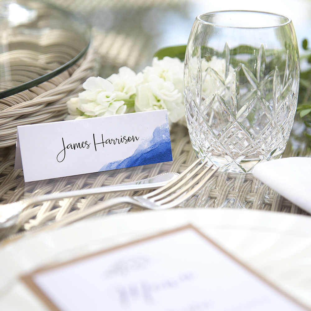 'Blue Watercolour Splash' Place Cards