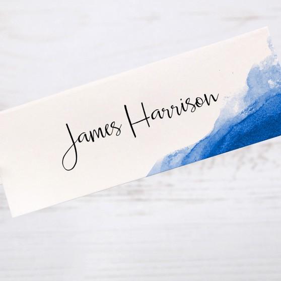 'Blue Watercolour Splash' Place Cards