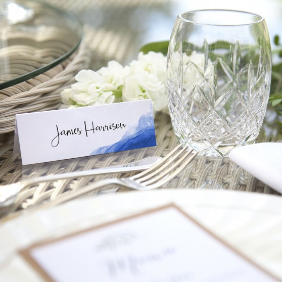 'Blue Watercolour Splash' Place Card Sample