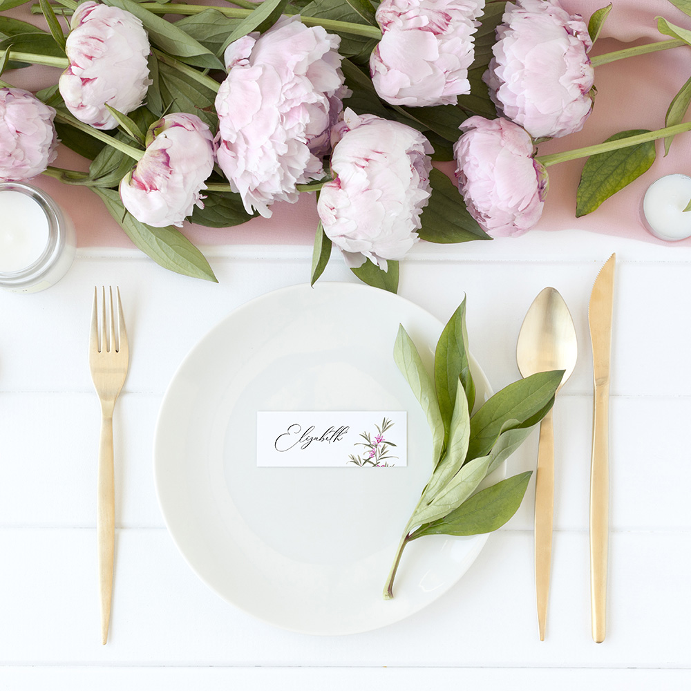 'Pink Botanical' Place Cards