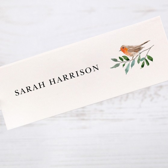 'Christmas Robin' Place Card Sample