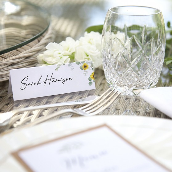 'Classic Eucalyptus Sunflower' Place Card Sample
