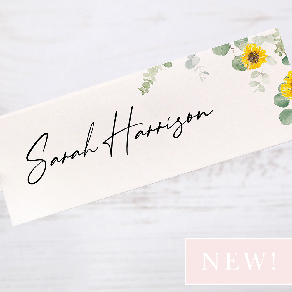 'Classic Eucalyptus Sunflower' Place Card Sample
