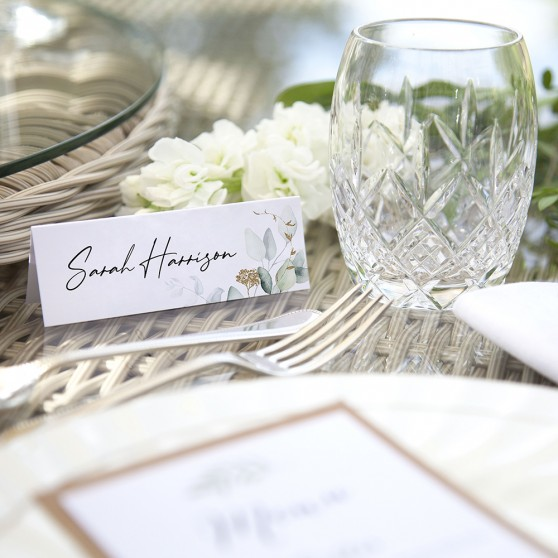 'Green & Gold Eucalyptus' Place Card Sample