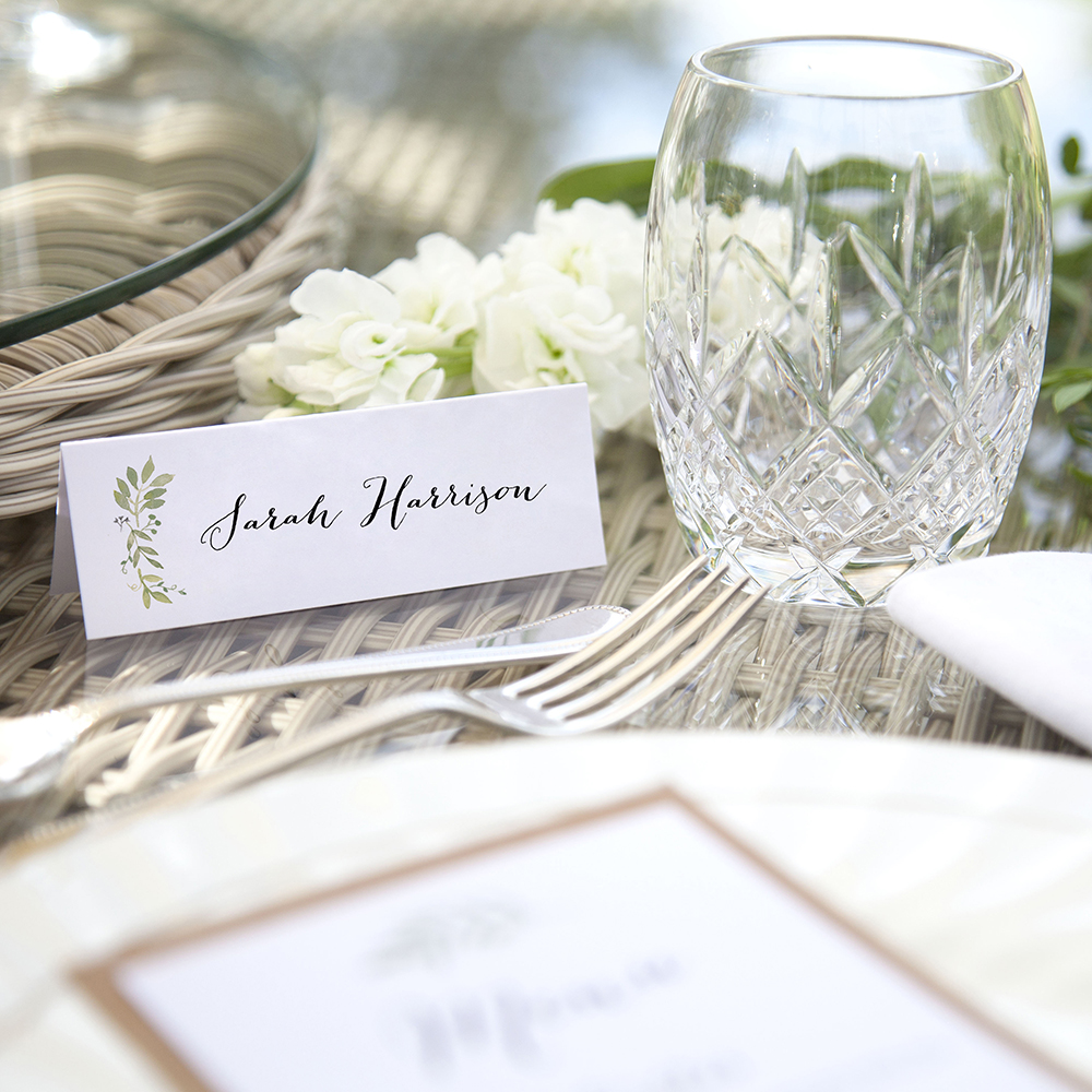 'Green Floral Watercolour (L)' Place Card Sample