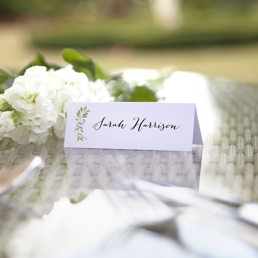 'Green Floral Watercolour (L)' Place Cards