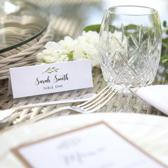 'Green Table Number' Place Card Sample
