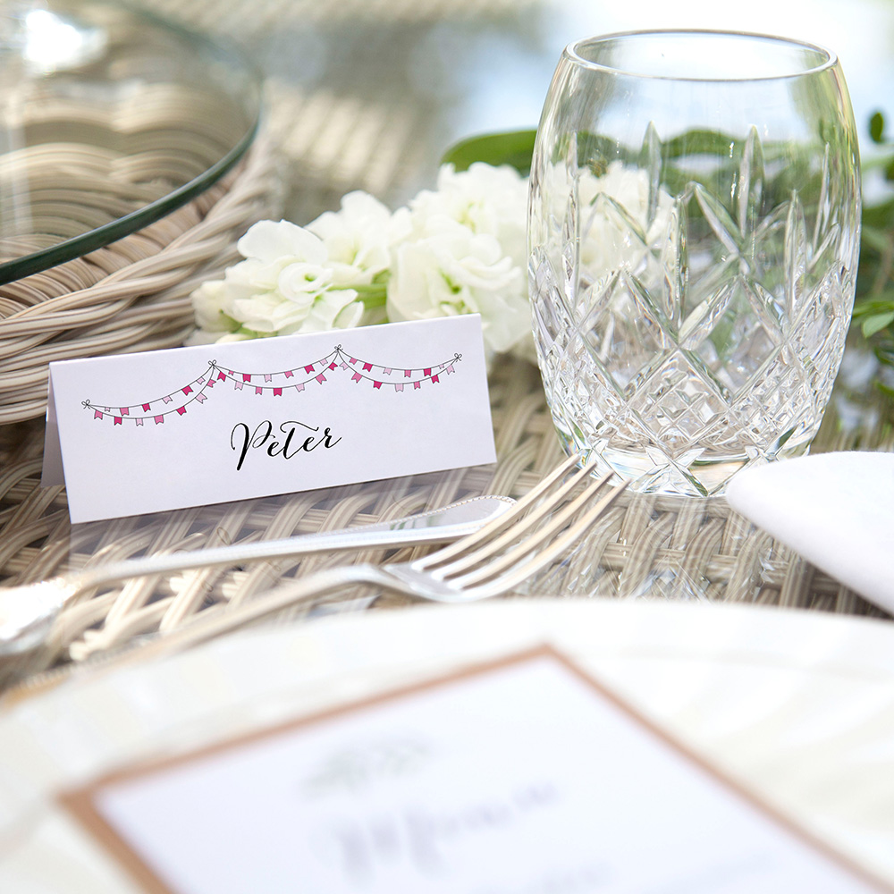 'Pink Flag Bunting' Place Cards