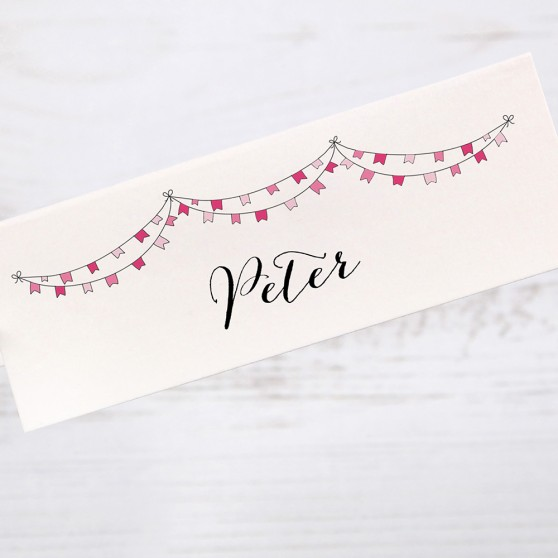 'Pink Flag Bunting' Place Card Sample