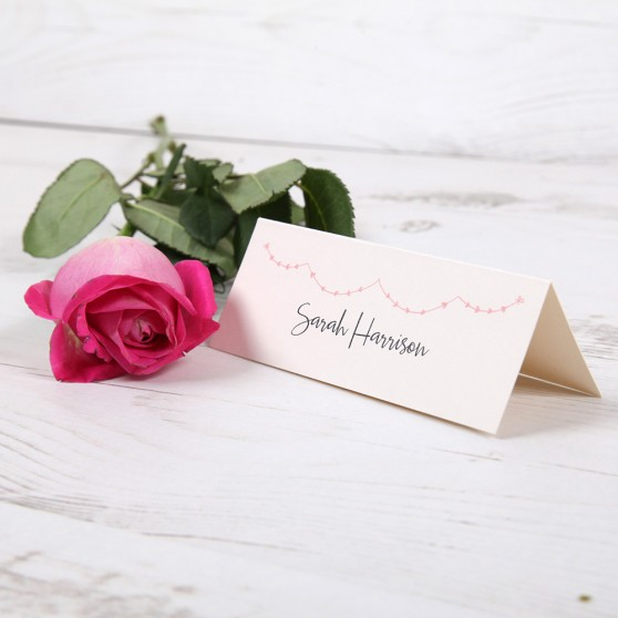 'Pink Heart Bunting' Place Card Sample