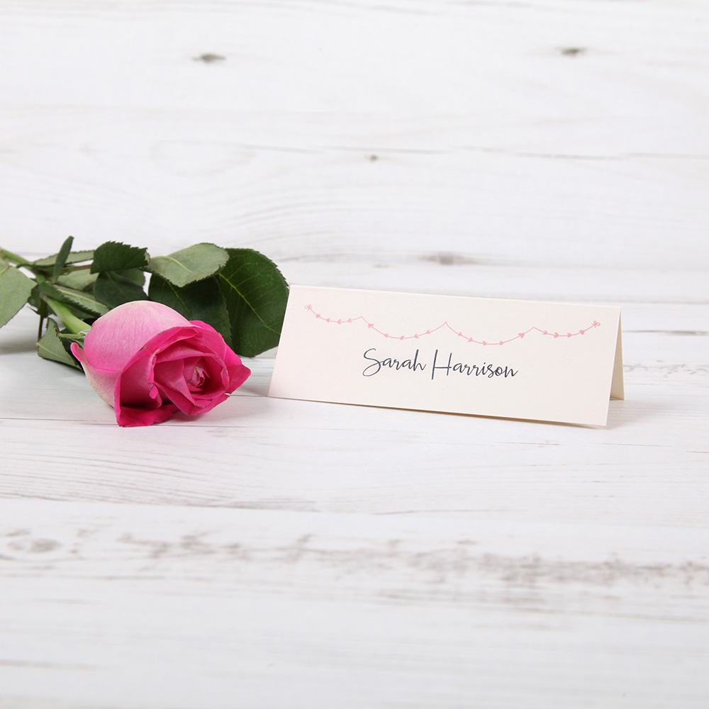 'Pink Heart Bunting' Place Cards