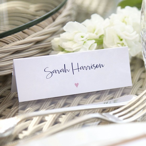 'Pink Heart' Place Cards