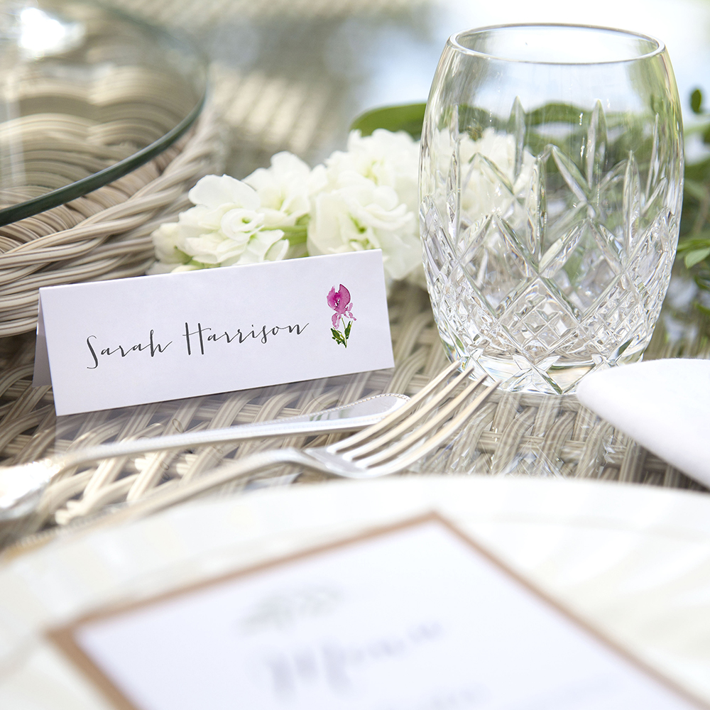 'Pink Iris' Place Card Sample