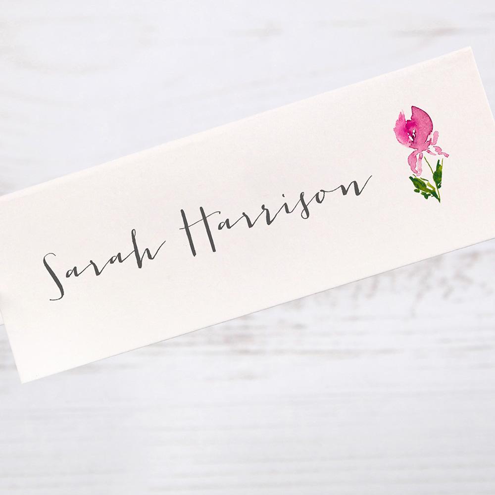 'Pink Iris' Place Cards