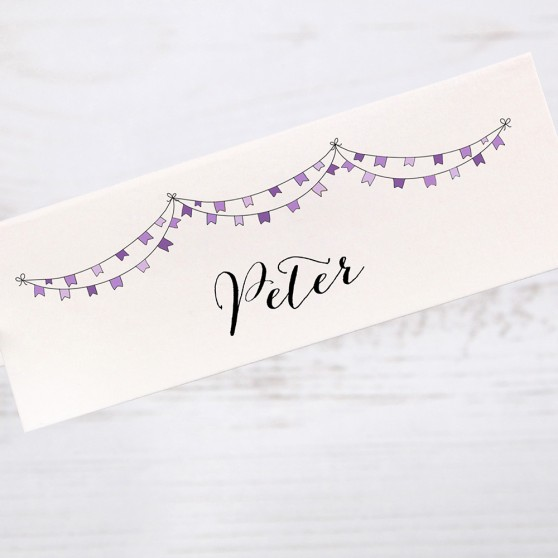 'Purple Flag Bunting' Place Card Sample
