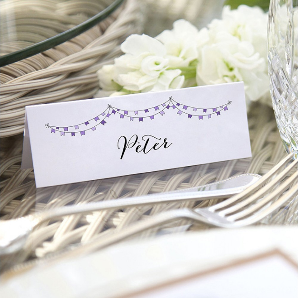 'Purple Flag Bunting' Place Cards