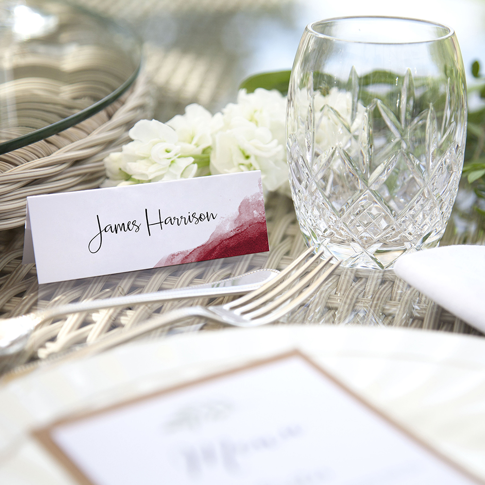 'Red Watercolour Splash' Place Card Sample