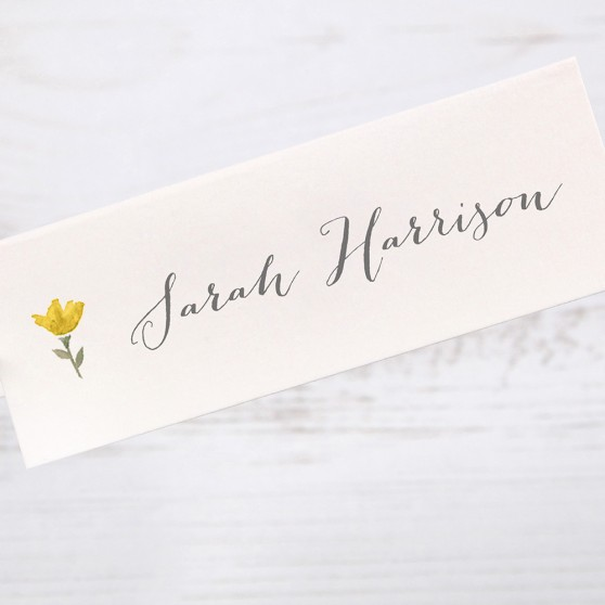 'Yellow Floral Watercolour' Place Card Sample