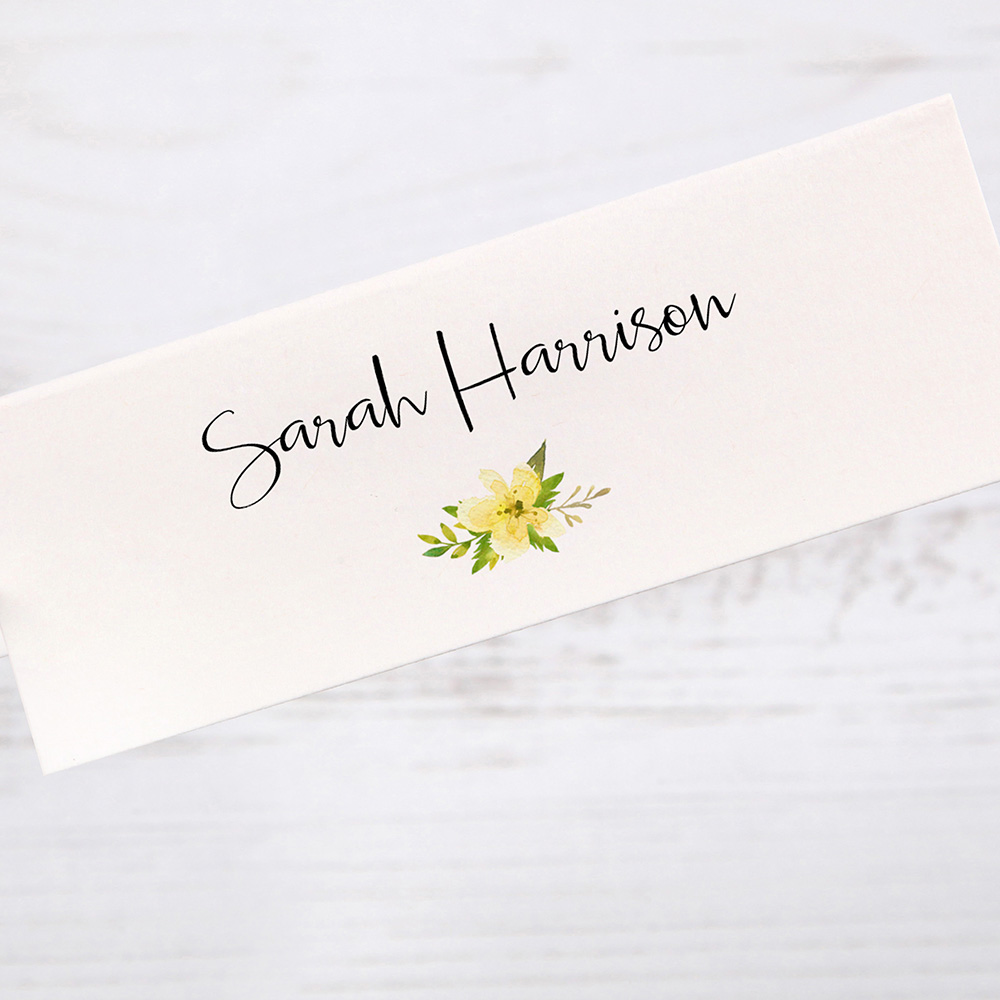 'Yellow Multi Floral Watercolour' Place Cards