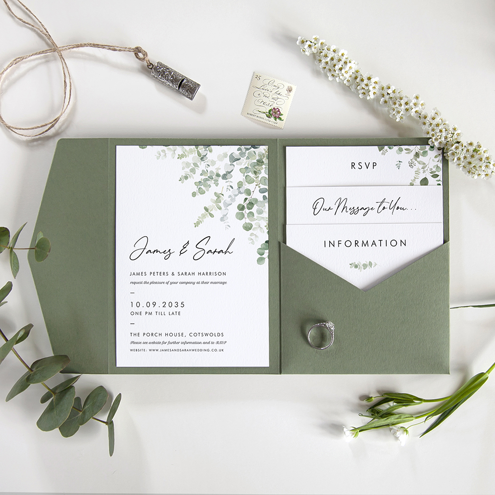 'Classic Eucalyptus' Pocketfold Wedding Invitation Sample