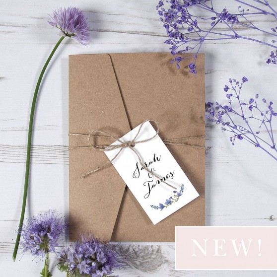 'Blue Floral Watercolour' Pocketfold Wedding Invitation