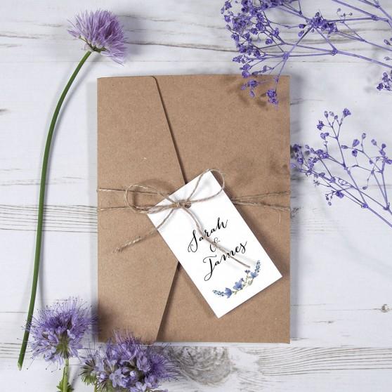 'Blue Floral Watercolour' Pocketfold Wedding Invitation Sample