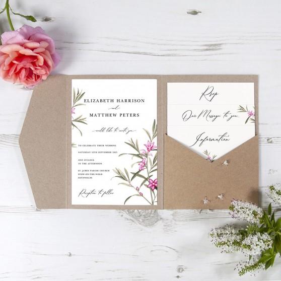'Pink Botanical' Pocketfold Wedding Invitation