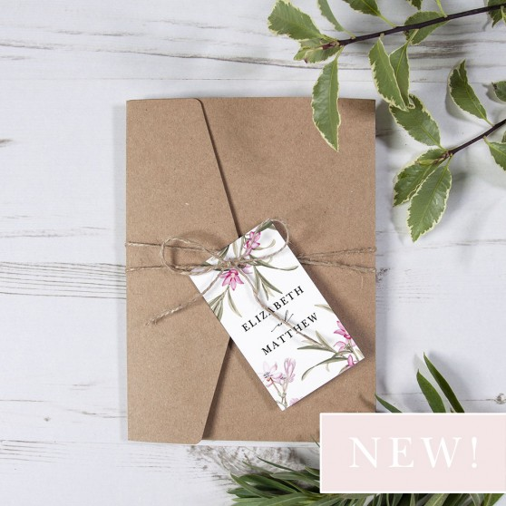 'Pink Botanical' Pocketfold Invitation