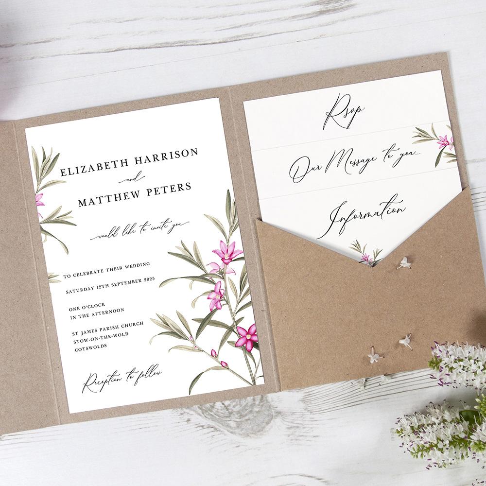 'Pink Botanical' Pocketfold Invitation