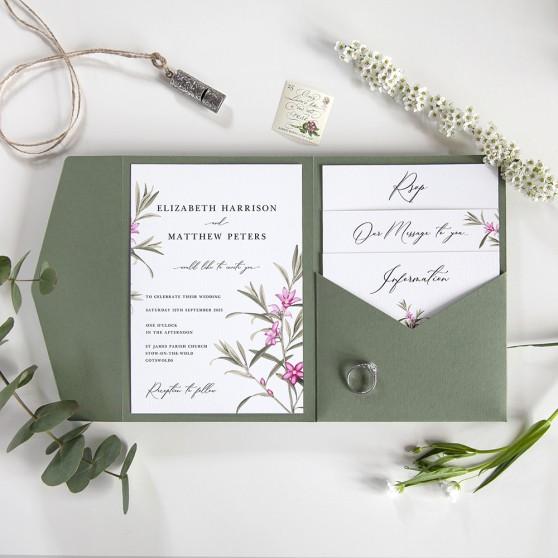 'Pink Botanical' Pocketfold Wedding Invitation Sample