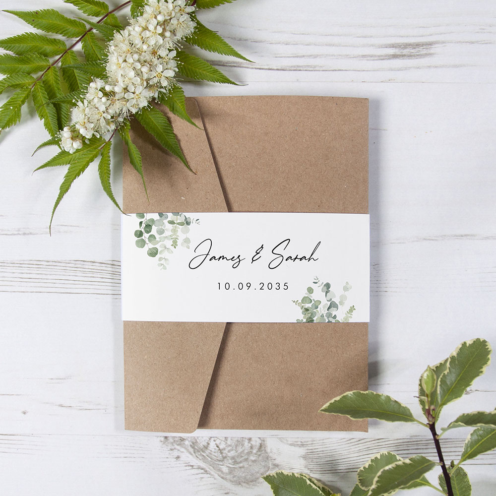 'Classic Eucalyptus' Pocketfold Invitation Sample